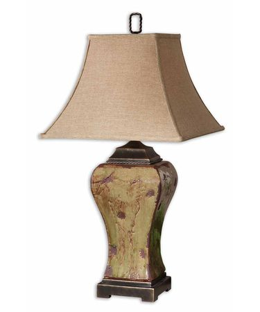 Shown in Rustic finish and Square Bell shade