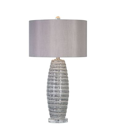 Shown in Smoke Gray Ceramic-Brushed Nickel finish and Taupe Gray Linen Fabric shade