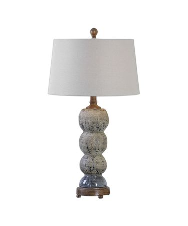 Shown in Blue Gray Glaze Covered In A Rottenstone Wash-Rustic Bronze finish and Light Beige Linen Fabric shade