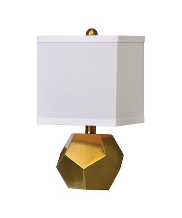 Shown in Antique Brush Brass finish and White Linen Fabric shade