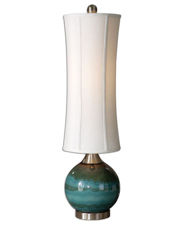 Shown in Light Blue finish and Round Modified Tall Drum shade
