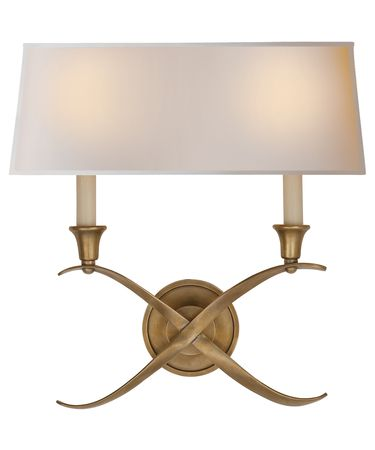 Shown in Antique-Burnished Brass finish and Natural Paper Rectangle Shield shade