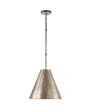 Shown in Antique Nickel finish and Antique Nickel shade
